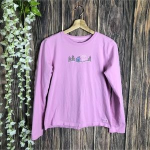 Life is good XS top long sleeve pink cabin trees